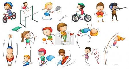 Illustration pour Illustration des différentes activités sportives sur fond blanc - image libre de droit