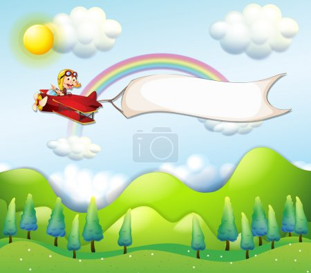 A monkey riding in a red airplane with an empty banner