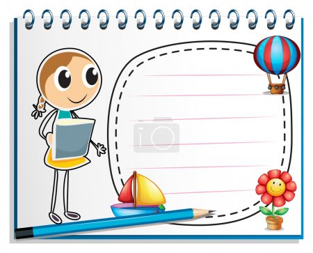 Illustration for Illustration of a notebook with a sketch of a young girl at the cover page on a white background - Royalty Free Image