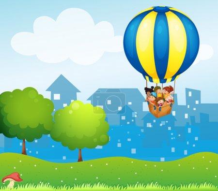 A big hot air balloon with kids