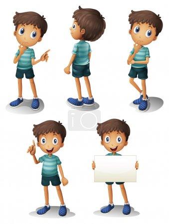 Illustration pour Illustration d'un jeune garçon dans différentes positions sur fond blanc - image libre de droit