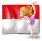 Illustration of a ballet dancer performing in front of the Indonesian flag on a white background