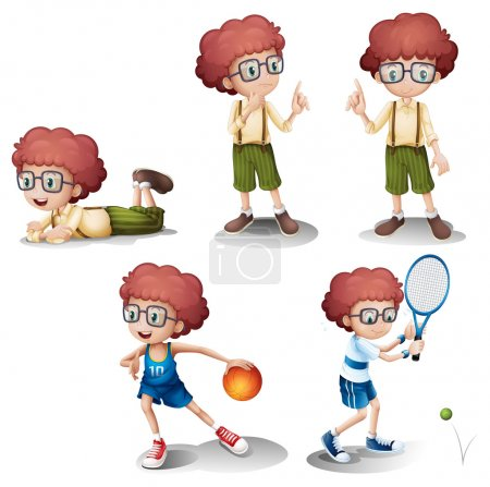 Five different activities of a young boy