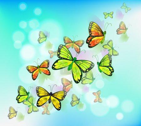 Illustration pour Illustration d'une papeterie de couleur bleue avec papillons - image libre de droit