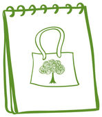 Illustration of a green notebook with a bag at the cover page on a white background