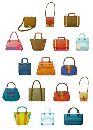 Illustration pour Illustration des différents modèles de sacs sur fond blanc - image libre de droit