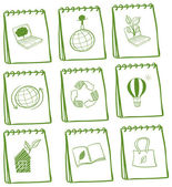 Illustration of the notebooks with eco-friendly logos on a white background