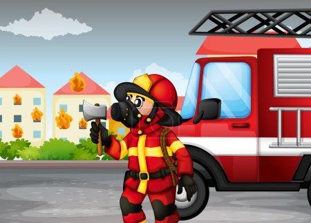 Illustration pour Illustration d'un pompier tenant une hache avec un camion à l'arrière - image libre de droit