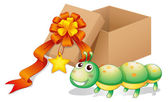 Illustration of a caterpillar toy beside a box on a white background