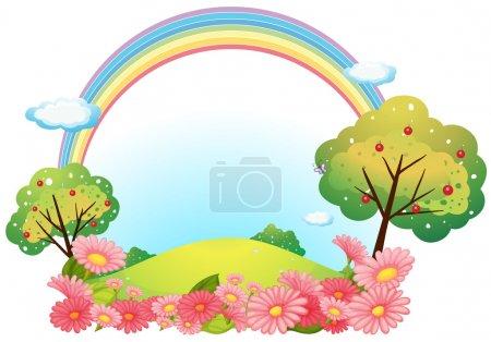 Illustration pour Illustration d'une colline avec des fleurs et des arbres sur un fond blanc - image libre de droit