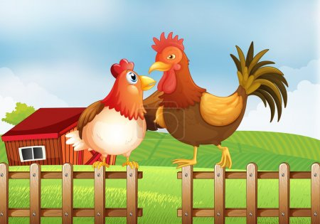 A hen and a rooster above the fence with a wooden house at the b
