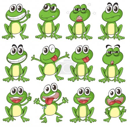 Illustration of the different faces of a frog on a...