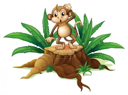 Illustration for Illustration of a playful young monkey above a wood on a white background - Royalty Free Image