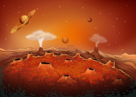 Illustration for Illustration of the outer space with planets - Royalty Free Image