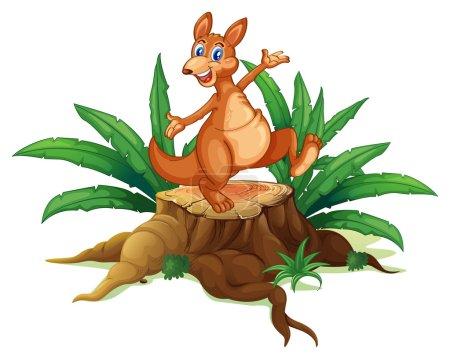 A kangaroo above a trunk