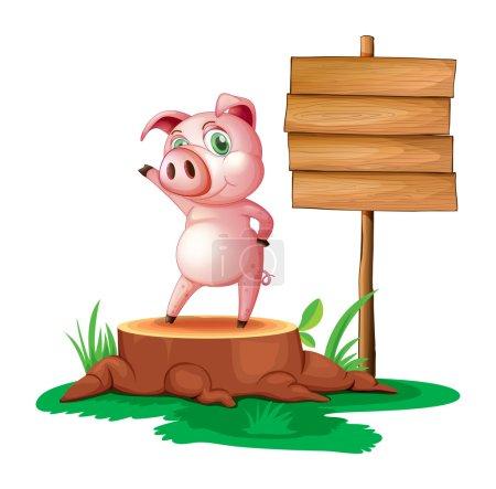 A pig standing beside an empty wooden signboard