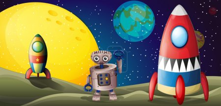 Illustration for Illustration of the two spaceships and a robot in the outer space - Royalty Free Image