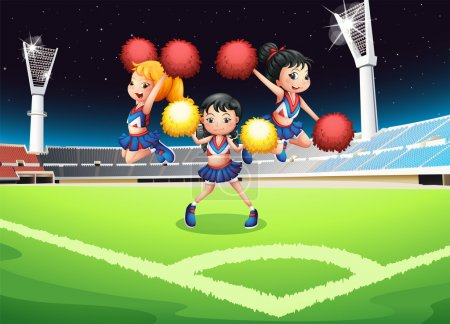 Three cheerdancers performing in the soccer field