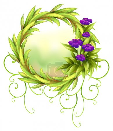 Illustration for Illustration of a round green border with violet flowers on a white background - Royalty Free Image