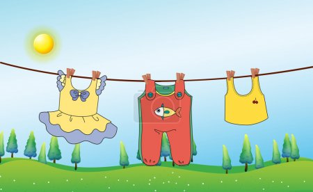 Kids clothes hanging under the sun
