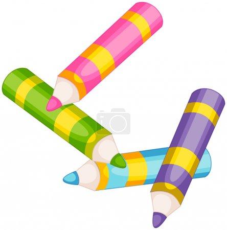 Illustration pour Illustration des crayons colorés sur fond blanc - image libre de droit