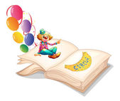 Illustration of a book with a clown and balloons on a white background