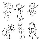 Illustration of the different dance moves on a white background