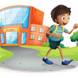 Illustration of a boy going home from school on a ...