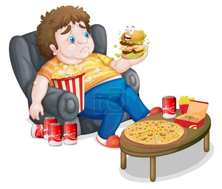 A fat boy in front of a lots of foods
