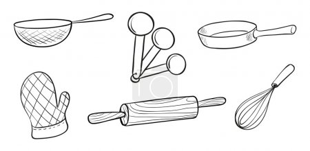 Illustration of the baking tools on a white backgr...
