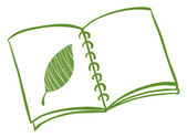 Illustration of a notebook with a drawing of a green leaf on a white background