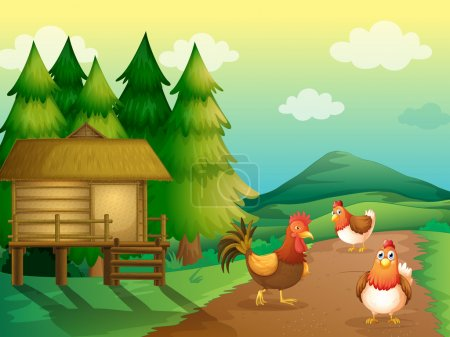 A farm with chickens and a native house