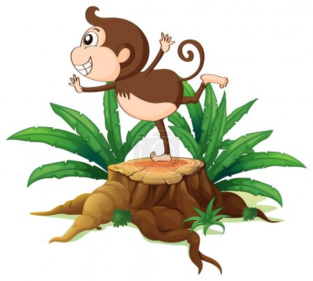 A young monkey playing above the stump