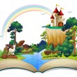 Illustration of a book with a castle at the forest...