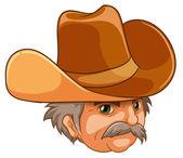 An old man wearing a cowboy hat