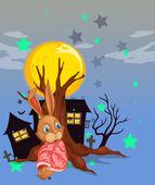 A rabbit beside an old tree