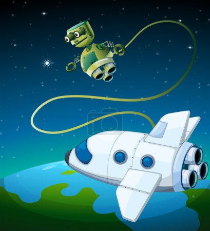 An aircraft and a robot at the outerspace