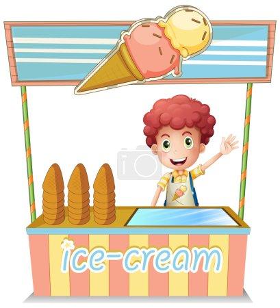 Illustration pour Illustration d'un garçon vendant de la glace sur fond blanc - image libre de droit