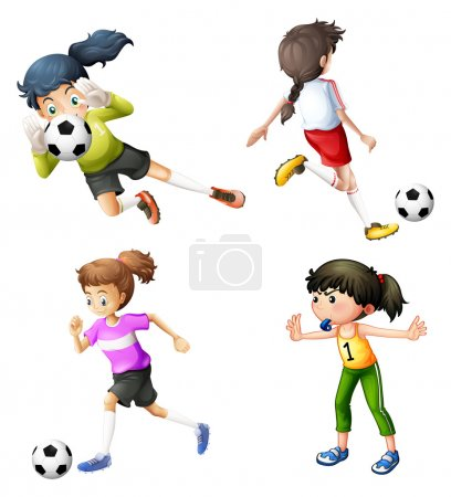 Four girls playing soccer