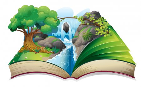 Illustration for Illustration of a book with an image of a forest on a white background - Royalty Free Image