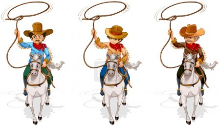Two old and one young cowboys