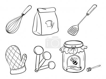 Illustration pour Illustration d'un ensemble de gribouillis d'ustensiles de cuisine, de levure chimique et de confiture de miel sur fond blanc - image libre de droit