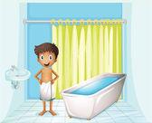 A fiú a fürdőszobában