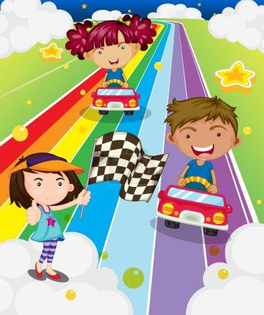 Three kids playing car racing