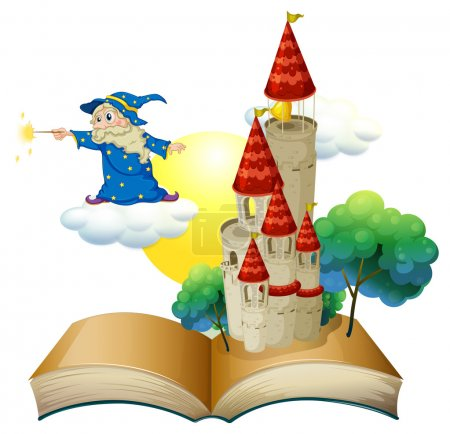 Illustration for Illustration of a book with an image of a castle and a magician on a white background - Royalty Free Image