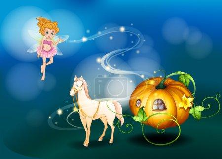 A pumpkin, a horse and a fairy
