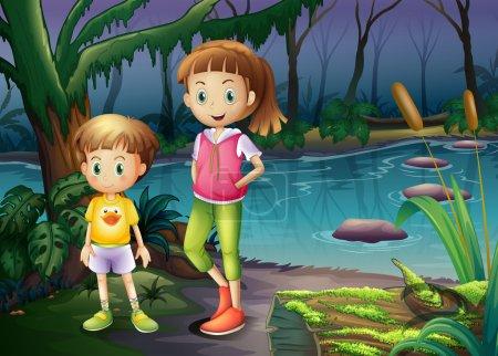 Illustration pour Illustration d'un garçon et d'une fille debout au milieu de la forêt - image libre de droit