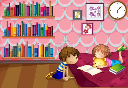 A girl and a boy reading inside a room