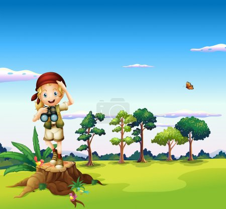 A girl with a telescope standing above a stump