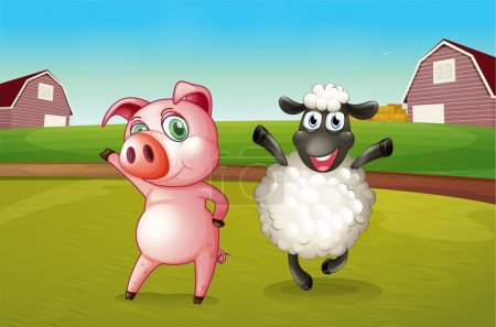 A pig and a sheep dancing at the farm